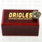 TEAM LOGO WOODEN CASE 1970 BALTIMORE ORIOLES World Series CHAMPIONSHIP RING 10-13S