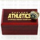 TEAM LOGO WOODEN CASE 1974 OAKLAND ATHLETICS World Series CHAMPIONSHIP RING 10-13S