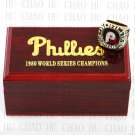 TEAM LOGO WOODEN CASE 1980 PHILADELPHIA PHILLIES World Series CHAMPIONSHIP RING 10-13S