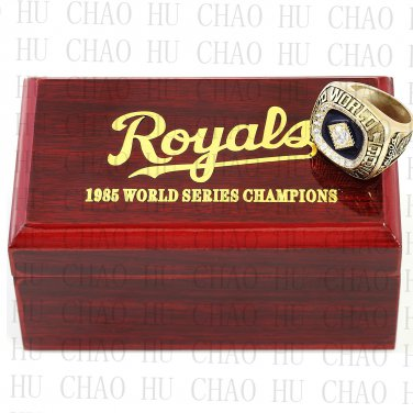 TEAM LOGO WOODEN CASE 1985 Kansas city royals World Series CHAMPIONSHIP RING 10-13S
