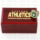 TEAM LOGO WOODEN CASE 1989 OAKLAND ATHLETICS World Series CHAMPIONSHIP RING 10-13S