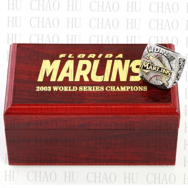 TEAM LOGO WOODEN CASE 2003 FLORIDA MARLINS World Series CHAMPIONSHIP RING 10-13S
