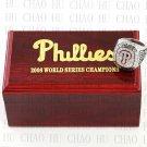 TEAM LOGO WOODEN CASE 2008 PHILADELPHIA PHILLIES World Series CHAMPIONSHIP RING 10-13S