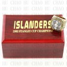 TEAM LOGO WOODEN CASE 1982 New York Islanders Hockey Championship Ring 10-13S