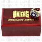 TEAM LOGO WOODEN CASE 1984 EDMONTON OILERS Hockey Championship Ring 10-13S