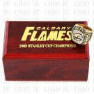 TEAM LOGO WOODEN CASE 1989 Calgary Flames Hockey Championship Ring 10-13S
