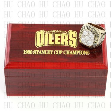 TEAM LOGO WOODEN CASE 1990 EDMONTON OILERS Hockey Championship Ring 10-13S