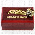 TEAM LOGO WOODEN CASE 1991 Pittsburgh Penguins Hockey Championship Ring 10-13S