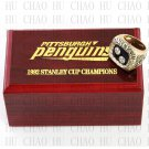 TEAM LOGO WOODEN CASE 1992 Pittsburgh Penguins Hockey Championship Ring 10-13S