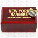 TEAM LOGO WOODEN CASE 1994 New York Rangers Hockey Championship Ring 10-13S