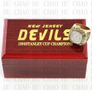 TEAM LOGO WOODEN CASE 1995 New Jersey Devils Hockey Championship Ring 10-13S