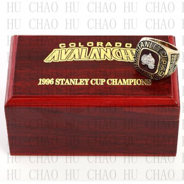 TEAM LOGO WOODEN CASE 1996 COLORADO AVALANCHE Hockey Championship Ring 10-13S