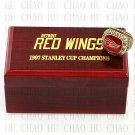TEAM LOGO WOODEN CASE 1997 Detroit Red Wings Hockey Championship Ring 10-13S