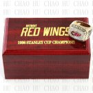 TEAM LOGO WOODEN CASE 1998 Detroit Red Wings Hockey Championship Ring 10-13S