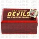 TEAM LOGO WOODEN CASE 2003 New Jersey Devils Hockey Championship Ring 10-13S