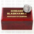 TEAM LOGO WOODEN CASE 2010 Chicago Blackhawks Hockey Championship Ring 10-13S
