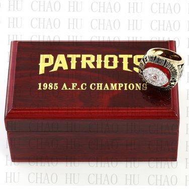 TEAM LOGO WOODEN CASE 1985 New England Patriots AFC Football world Championship Ring 10-13S