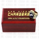TEAM LOGO WOODEN CASE 1994 San Diego Chargers AFC Football world Championship Ring 10-13S