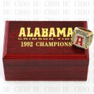 TEAM LOGO WOODEN CASE 1992 Alabama Crimson Tide NCAA Football world Championship Ring 10-13S