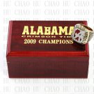 TEAM LOGO WOODEN CASE 2009 Alabama Crimson Tide NCAA Football world Championship Ring 10-13S
