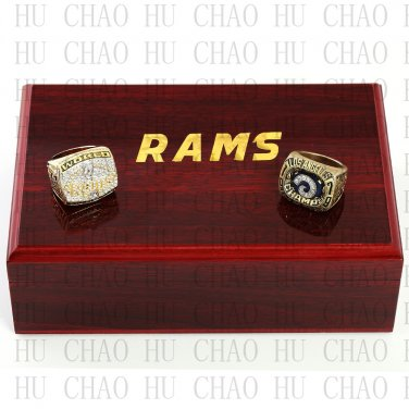 TEAM LOGO WOODEN CASE SET 2PCS 1979 1999 ST LOUIS RAMS Football Rings 10-13S