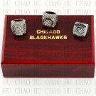 TEAM LOGO CASE SET 3 PCS 2010 2013 2015 Chicago Blackawks Hockey championship Rings 10-13S
