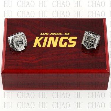 TEAM LOGO CASE SET 2 PCS 2012 2014 Los Angeles La Kings Hockey championship Rings 10-13S