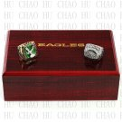 TEAM LOGO WOODEN CASE SET 2PCS 1980 2004 PHILADELPHIA EAGLES NFC Football Championship Ring 10-13S