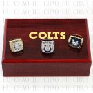 TEAM LOGO CASE SET 3pcs Set 1970 2006 2009 Indianapolis Colts Football Championship Ring 10-13S