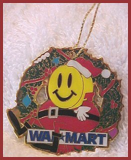 Walmart Santa Smiley In Christmas Wreath Ornament