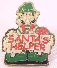 Santa's Helper Smiling Elf Lapel Pin