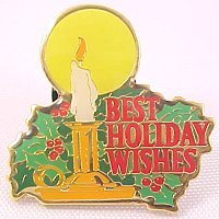 Best Holiday Wishes Candle Lapel Pin