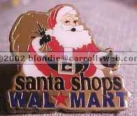 Santa Shops Walmart Christmas Lapel Pin
