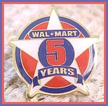 Walmart 5 year Associate Star Lapel Pin