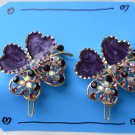 purple clover hair clips
