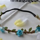 bridal flower headband-blue