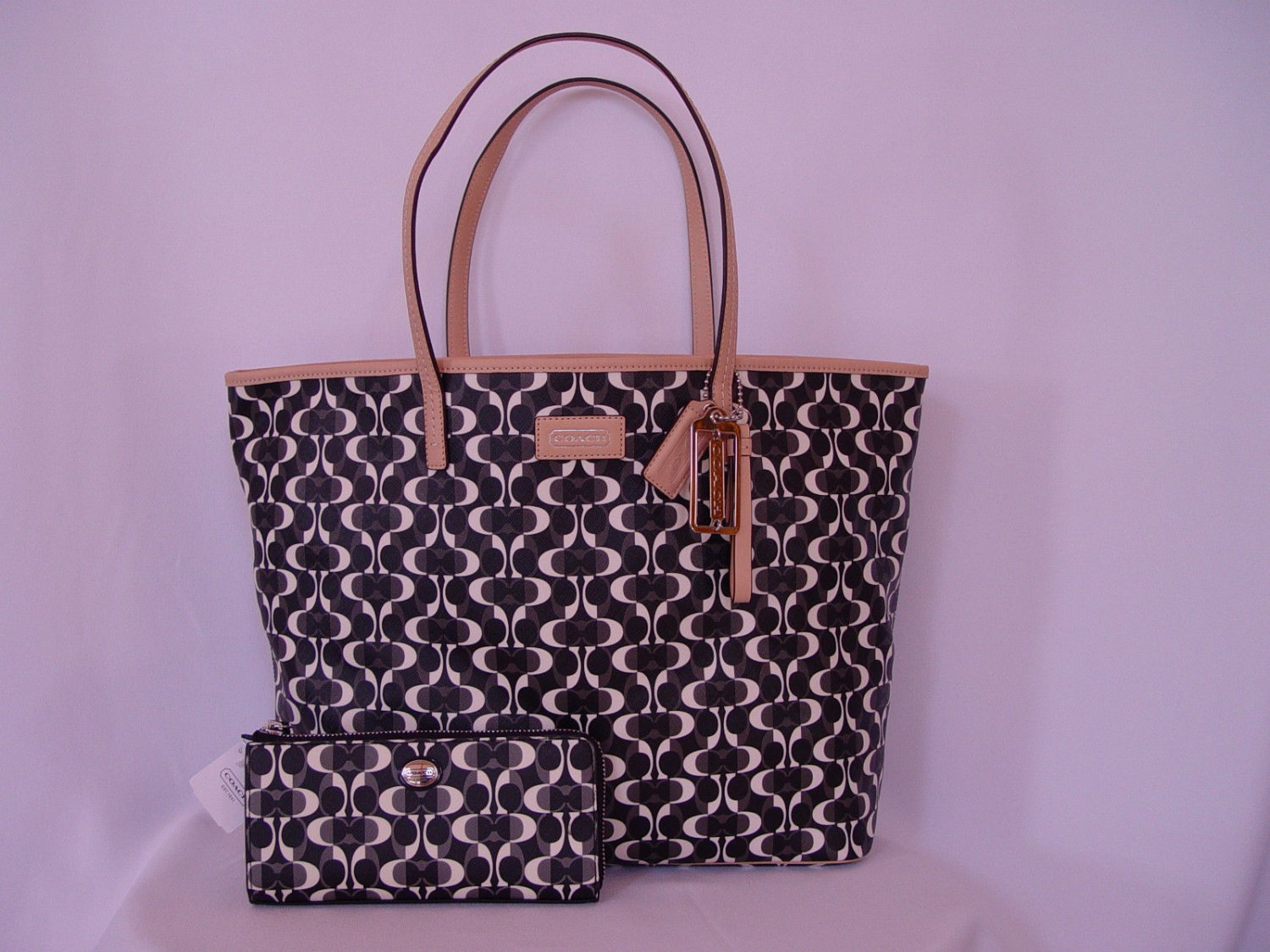 Details about  NEW AUTHENTIC COACH BLACK/WHITE PARK METRO DREAM TOTE +MATCHING WALLET F25673