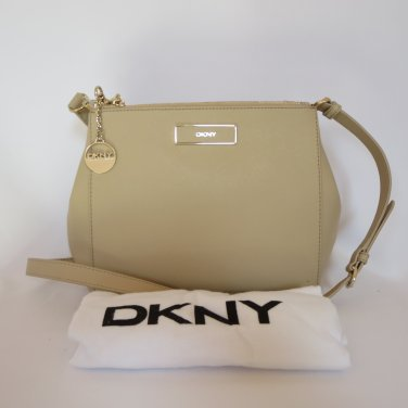 New DKNY Donna Karran Nude Saffiano Genuine Leather Crossbody Handbag