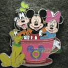 Disney Pin 2011 HKDL Mystery Tin Pin Tea Cup Collection - Mickey with Minnie Goofy & Pluto