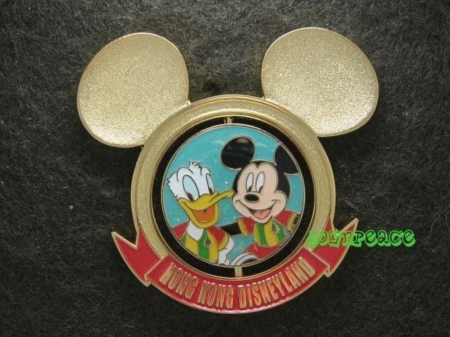 Disney Pin HKDL 2010 Mickey Football Club Spinner pin - Mickey and Donald