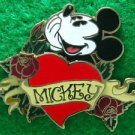 60700 Disney Pin 2008 HKDL - Hand on Chin Mickey with Roses & Heart
