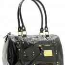 CLASSY BLACK GLOSSY FAUX LEATHER HANDBAG PURSE
