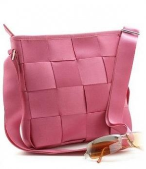 BEAUTIFUL FUSHIA CHECKERBOARD STYLE HANDBAG PURSE