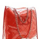 BEAUTIFUL RED SATIN AND VINYL DESIGNER HANDBAG PURSE