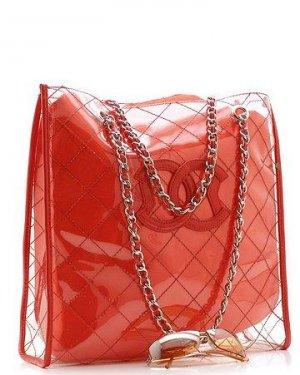 BEAUTIFUL RED SATIN AND VINYL DESIGNER HANDBAG PURSE