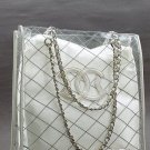 BEAUTIFUL WHITE SATIN AND VINYL DESIGNER HANDBAG PURSE