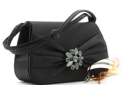 BEAUTIFUL BLACK SATIN DESIGNER EVENING BAG