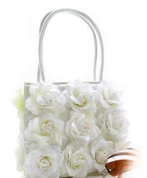 BEAUTIFUL WHITE SILK AND SATIN FLOWER DESIGNER EVENING BAG