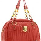 BEAUTIFUL RED QUILTED FAUX LEATHER HANDBAG PURSE
