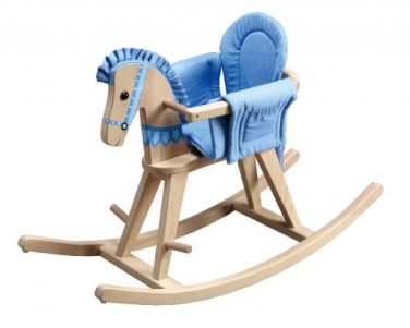 Fantasy Fields Hand Carved Safari Natural Rocking Horse with Blue Pad by alextoys